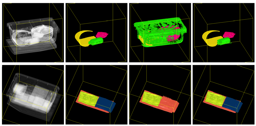 Figure 3. segmentation results of our algorithms with other methods. from left to right in each row, the original computed tomograhy image, ground-truth labels, region growing, and our segmentation.