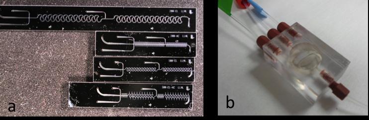Figure 3. (a) the llnl micromixer and (b) macromixer.