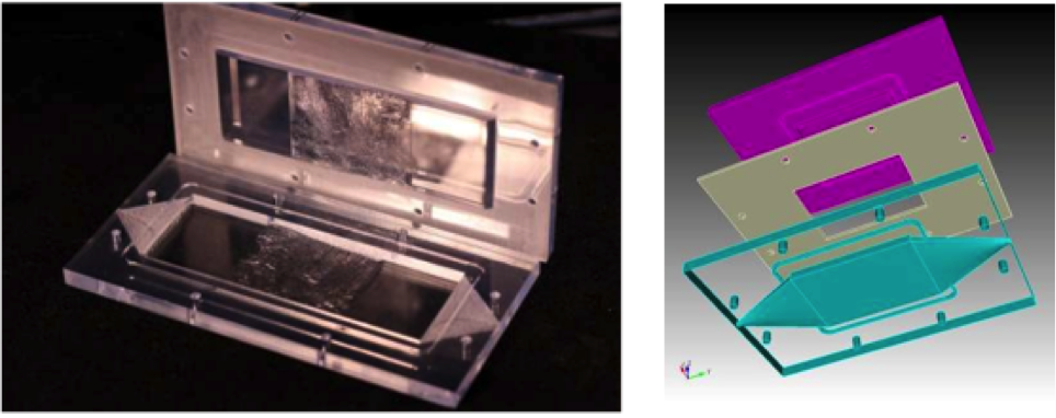 Figure 1. printed flow cell halves containing fracture geometry from marcellus shale fracture (left). an expanded view of the template used to create the flow cell showing a spacer layer (grey) and a cutaway of floor geometry (right).