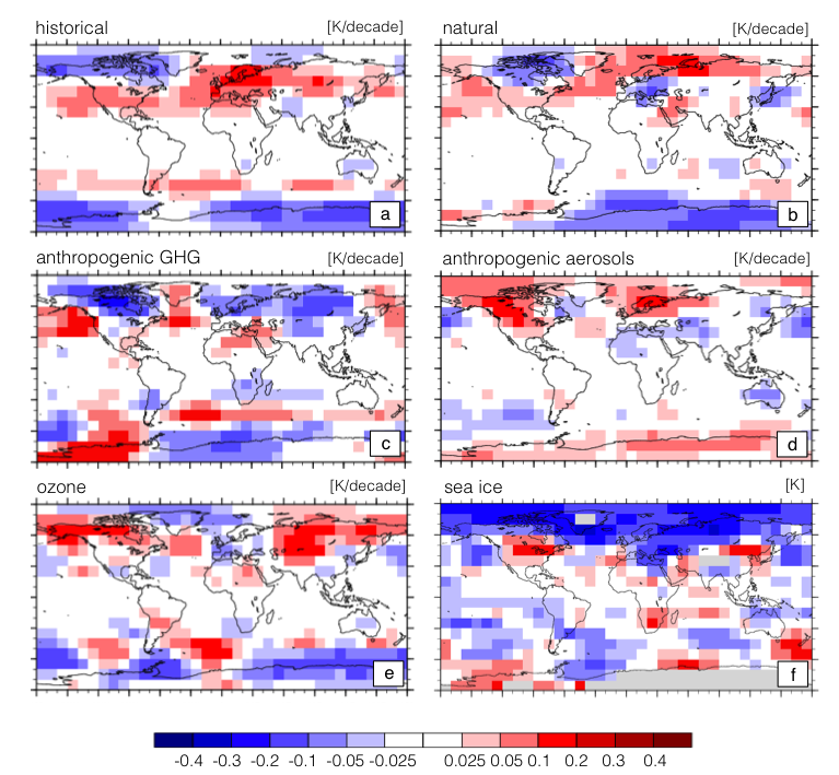 Figure 5: trends in the amplitude of the annual cycle of the temperature of the lower troposphere. results are from the coupled model intercomparison project (cmip-5) single forcing simulations (a–e) and from simulations performed at llnl as part of the uncertainty quantification project, with changes in arctic sea-ice extent only (f). for cmip-5 results, trends were calculated after first re-gridding the simulation output to a 10° x 10° latitude and longitude grid, calculating the amplitude of the first ha