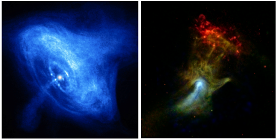 """Figure 2. pulsar wind nebulae observed in x rays. left: chandra view of the crab nebula with its toroidal morphology and jet structure (nasa/cxc/sao). right: the psr b1509-58 pulsar wind nebula, known as """"hand of god,"""" as seen by chandra (red: 0.5–2 kev, green: 2–4 kev ) and nustar (blue: 7–25 kev) (nasa/jpl-caltech/mcgill)."""
