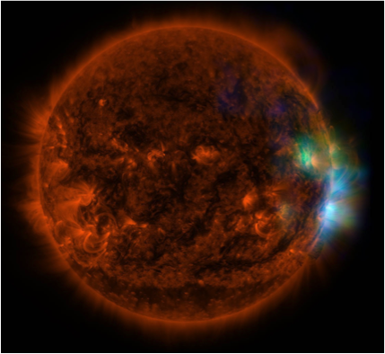 Figure 5. image of the sun combining hard x-ray data (nustar) in blue, soft x-rays observations (hinode) in green, and extreme ultraviolet data (solar dynamic observatory, sdo) in yellow and red (nasa/jpl-caltech/gsfc/jaxa).