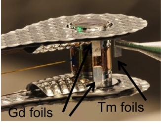 Figure 4. hohlraum for shot n150226. the gadolinium (gd) foils are facing 90-78, the neodymium foils are on the back side facing 90-315. the thulium (tm) foils were fielded in between the two to measure the amount of debris mixing that occurs after a shot.