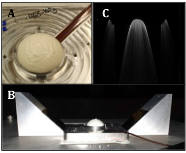 Figure 3. (a) a direct ink-write printed, plastic-bonded-explosive hemisphere with detonator interfaced to it ready for breakout timing test. (b) experimental setup of streak timing of breakout (note mirrors at the right and left to capture events at the equator of the part). (c) streak imaging of detonation of the printed structure. time increases in the vertical downward direction. the flash indicates the time at which the detonation front reached the part's edge.