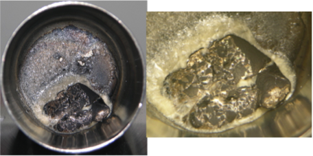 Figure 3. photographs of melt experiment with lithium metal and lithium bis(trifluoromethane)sulfonamide at 250°c show two distinct phases: lithium metal is gray and lithium bis(trifluoromethane)sulfonamide is white.