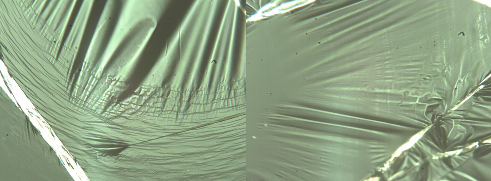 Ultrathin polymer films (around 10-nm thickness) have different mechanical behavior than their thicker counterparts. modulus, yield stress, and failure strain all change as a function of thickness. another property that changes is the yield mechanism. shown in the image are two ultrathin stretched films. the one on the left shows