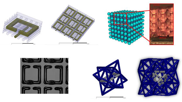Adding novel electromagnetic and mechanical properties to integrated materials using three-dimensional printing. a single-cell design of an anisotropic negative-index-of-refraction metamaterial (an artificial material with properties not found in nature) is shown top left, with a view of how multiple assembled cells fit together (top middle). silver-filled silicone (conducting) is seen as the darker (green) color, with silicone filaments for structural support shown in the lighter shade. the printed split-r