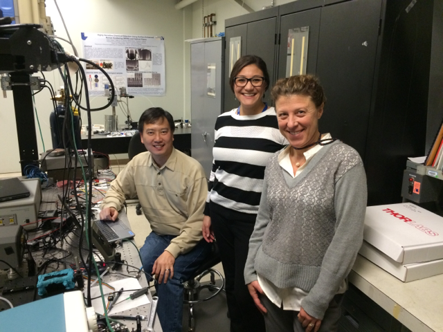 Livermore researchers allan chang, jessica osuna, and tiziana bond (left to right) are characterizing a new tunable-diode laser-based sensor to measure ambient concentrations of carbon dioxide.