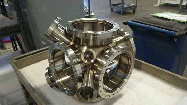 Figure 2. the new chamber will hold the four plastic scintillators, two high-purity germanium detectors, two ports for wiring, a vacuum pump port, and tape entry and exit specifically for beta spectral-shape measurements at the caribu source at argonne national laboratory.