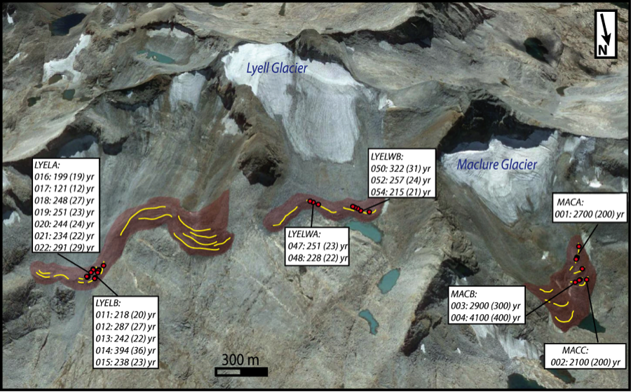 Figure 3. google earth image of the lyell and maclure glaciers in the eastern sierra nevada, in yosemite national park. moraines deposited when the glaciers were more extensive are colored red, with their crests marked by the yellow lines. red dots mark individual boulder samples, and dated samples are indicated by sample number and age in years (uncertainty in parentheses). modern glaciers are at 37.747° latitude, -119.28° longitude, and about 3,700-m elevation.