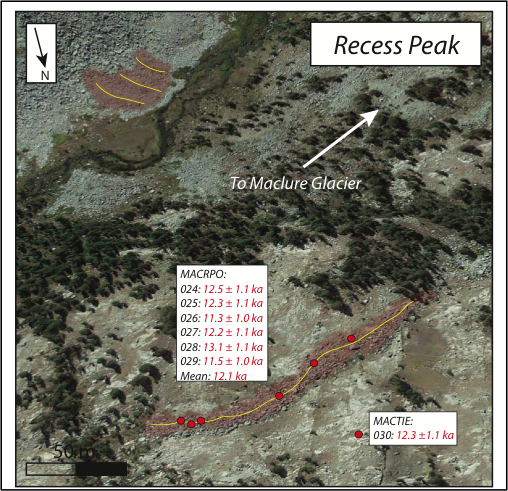 Figure 4. google earth image of the recess peak moraines downslope from the maclure glacier in the eastern sierra nevada. moraines deposited when the glaciers were more extensive are colored red, with their crests marked by the yellow lines. red dots mark individual boulder samples, and dated samples are indicated by sample number and age, with uncertainty, in thousands of years (ka). moraines at 37.771° latitude, -119.270° longitude, and about 3,225-m elevation.