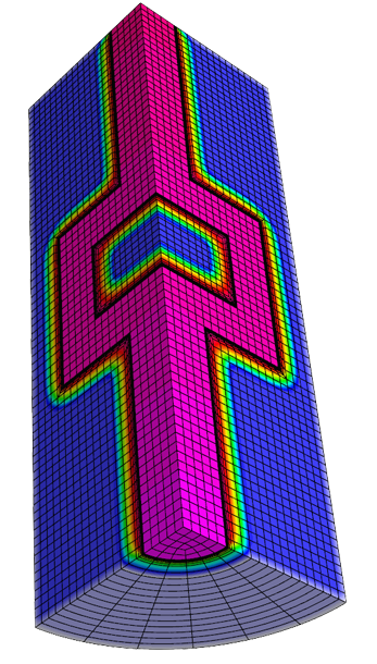 Simulation of radiation flowing through a crooked channel and diffusing in the surrounding material using high-order finite elements on a curved locally refined mesh. the new diffusion discretization uses a flux-based formulation that takes advantage of advanced linear solvers and is compatible with our high-order arbitrary lagrangian–eulerian hydrodynamics numerical method.