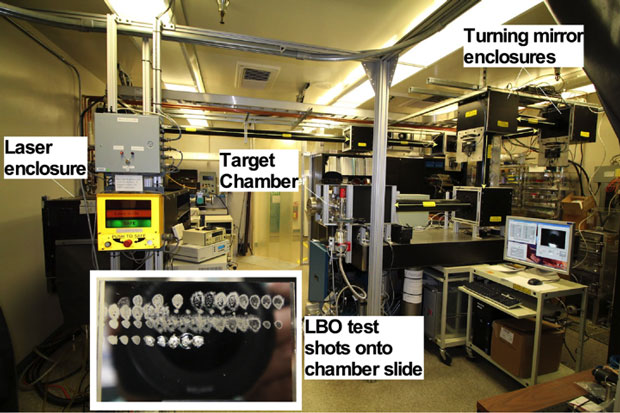 Figure 2. setup for livermore laser blow-off (lbo) system showing major components. thin yellow lines denote laser path to the target chamber. the insert shows a series of test shots onto a material slide that releases a controlled amount of the slide material.