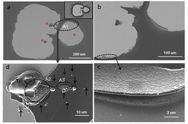 Figure 5. scanning electron microscopy images at different resolutions display the morphology of optical damage on a multilayer dielectric surface contaminated with titanium. (a) inset is the corresponding optical image. red dots indicate undamaged islands of aluminum oxide capping material. (b) zoomed-in view shows roughened edge of damage site. (c) high-resolution image shows the delamination of the top layer. this image was collected at an angle of 180˚ rotated with respect to the others. (d) a close-up