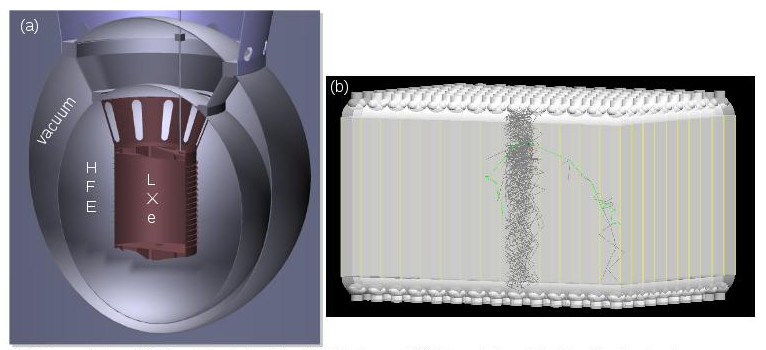 (a) three-dimensional rendering of the baseline design for the nexo (next enriched xenon observatory) experiment that was used in our simulation efforts. one of the key results concerned the size optimization of the hydrofluorether (hfe) volume that surrounds the active liquid xenon (xe) volume and acts as a thermal bath as well as a radioactive shield. (b) three-dimensional rendering of the baseline design for prospect (precision reactor oscillation and spectrum) experiment, showing a readout of 144 liquid