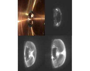 Images of one of the first pinch plasmas created by the mini dense-plasma focus device.