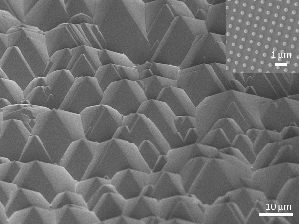 We have designed and fabricated hierarchical surface structures that enable concurrent control of infrared- (full image) and visible- (inset) wavelength light.