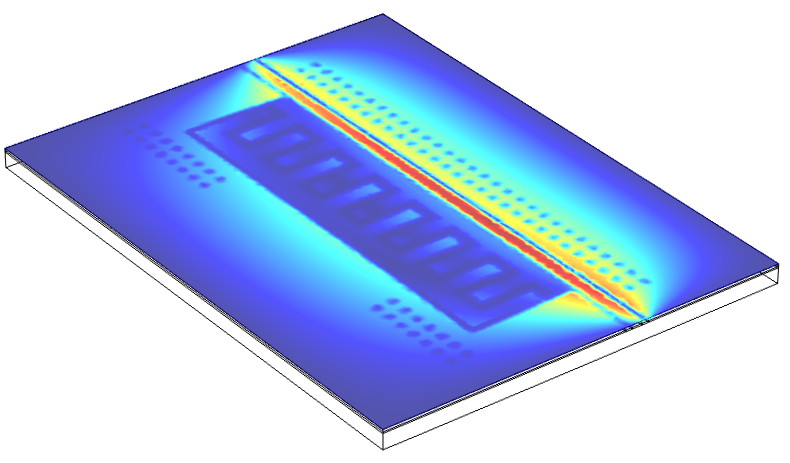 The electric field distribution in a superconducting qubit device, shown by the different colors in the simulation here, dictates the sensitivity of different device regions to materials defects that can cause loss of the quantum information. care is required to engineer device geometries and fabrication processes to minimize the overlap of electric fields and defective materials. red equals high values and blue is low values.