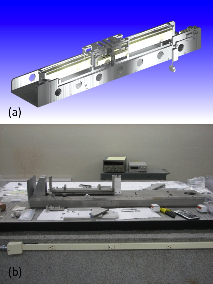 (a) engineering design of the mirror-based delay line for x rays (mel-x). (b) the mel-x under construction. all components were custom designed and machined towards the end of the first year of our research project, and currently are being assembled. shown in the figure is the base plate of the mel-x and one of the super-polished rail supports.