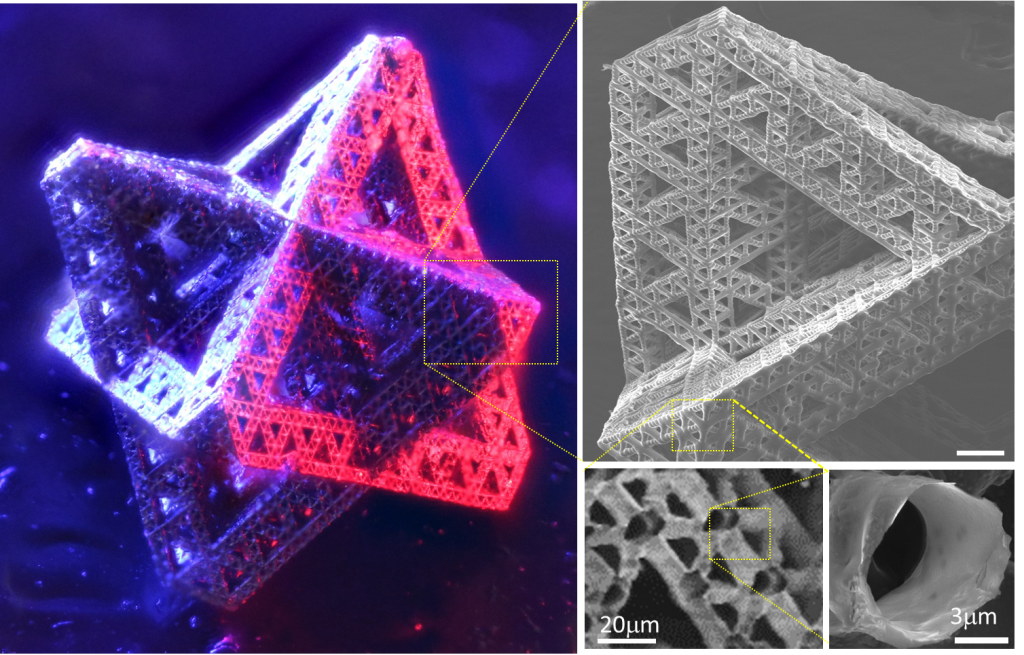 Nickel-alloy hierarchical metamaterials across over five orders of hierarchy down to nanometer-scale wall thickness.