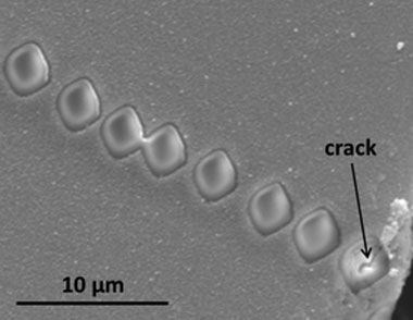 Figure 1. back-scattered electron image showing nanoscale secondary-ion mass spectrometry ion beam craters for the [001] profile on olivine experimental sample pc25.