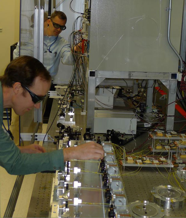 In fy16, we achieved over 35 w (average power) from a fiber-based laser system capable of producing high peak power pulses. graham allen (foreground) and victor khitrov (background) prepare the system for operation.