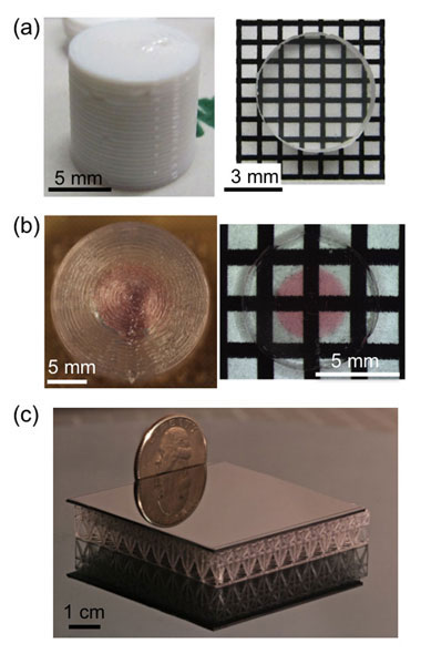 """the project has resulted in the creation of first-of-their kind optics prepared using layer-by-layer additive manufacturing methods. (a) a specially formulated garnet-containing paste or """"ink"""" is extruded to form a low density cylindrical structure (left) using a direct ink write printer. ceramics processing techniques are then used to transform it into a fully dense, transparent ceramic monolith (right). (b) a patterned, low density silica structure (left) is printed using two new silica-containing direct"""