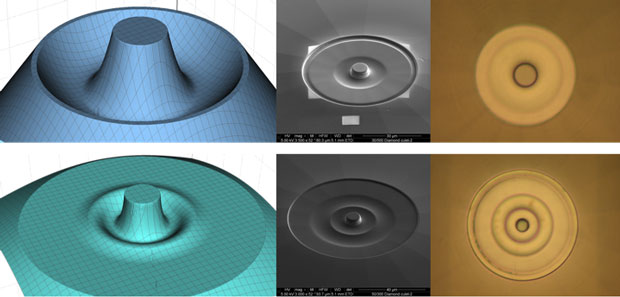 Figure 3. three different views of a single (top row) and double (bottom row) toroidal design: (left to right) three-dimensional rendering of the toroidal surface, scanning electron microscope image, and high-magnification optical macroscope image.