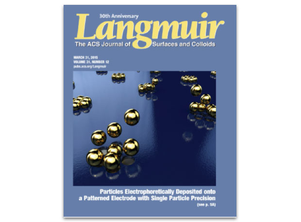 Appearing on the cover of the march 31, 2015 issue of langmuir, a livermore project was featured that is developing a method for precise particle assembly with single-particle precision using electrophoretic deposition in combination with a patterned electrode template.