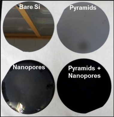 Utilizing hierarchical structures, we were able to reduce hemispherical reflectance of silicon (si) from 34 to less than 1% over the entire spectrum from 250 to 2,500 nm.
