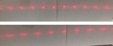 Figure 3. improved grating showing distinct modes (top), and the same grating stretched to show increased spacing while maintaining distinct modes (bottom).