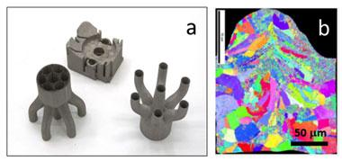 Figure 1. (a) selective laser melting components showing the high degree of design flexibility afforded with this technique. (b) an electron back-scatter diffraction image showing the microstructure within a single track produced by scanning a laser through a steel 316-l metal powder bed.
