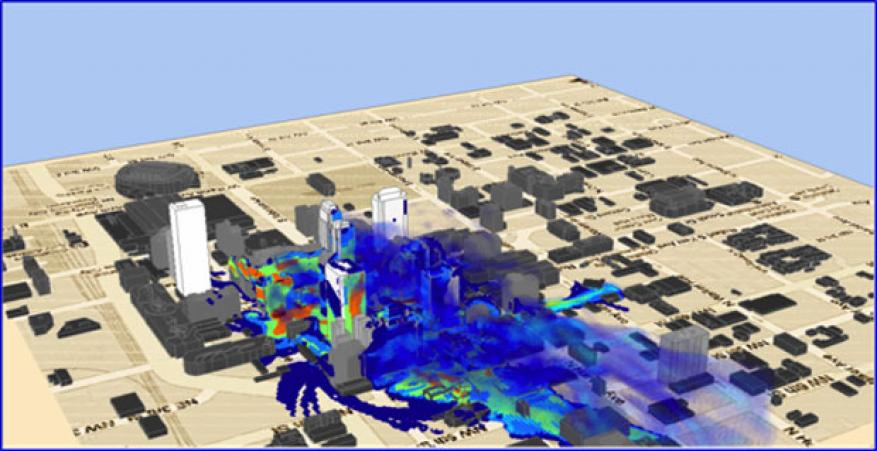 Figure 1. illustration of an aeolus simulation of the sulfur hexafluoride tracer released over the oklahoma city central business district during the joint urban 2003 study.