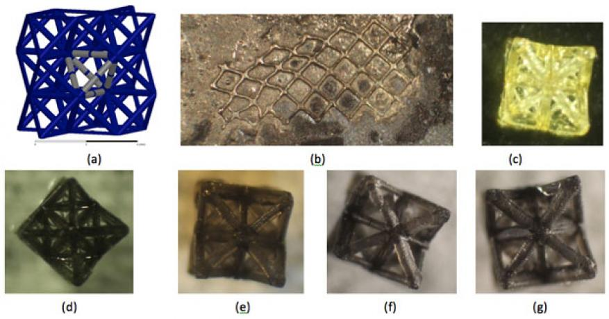 Figure 3. (a) concept of three-dimensional metamaterials with split-ring resonators. (b) single-layer octet truss with electroless nickel plating, showing effects of reduction after (c) 0 min, (d) 10 min, (e) 20 min, (f) 30 min, and (g) 40 min.