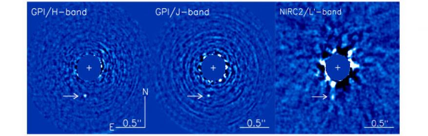Figure 1. images of 51 eri and 51 eri b (indicated by the arrow) after point-spread-function subtraction. (<em>left</em>) image of h-band from the gemini planet imager (gpi), taken december 2014. (<em>center</em>) j-band image from the gpi taken on january 2015. (<em>right</em>) lp-band image taken from the keck nirc2 telescope on january 2015.<sup>1</sup>