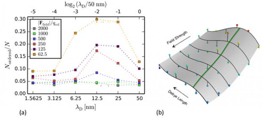 Figure 5. (a) fraction of ordered colloids versus screening length (λ<sub>d</sub>) for various electric field strengths shows how the simulated deposit microstructure depends on electrophoretic deposition conditions. (b) data from (a) fit to a response surface with the green path highlighting the maximum ordering contour.