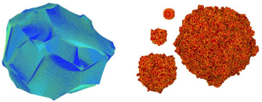 Figure 2. (left) grain consisting of about 2-billion lattice sites from grain-growth simulation. the entire simulation contained 75-billion lattice sites and the initial conditions made each site an individual grain. (right) a sequence of snapshots from solidification simulation, each showing the solid part. initially a small spherical solid seed (upper left corner) was placed in an under-cooled liquid bath. the seed then grows over time.