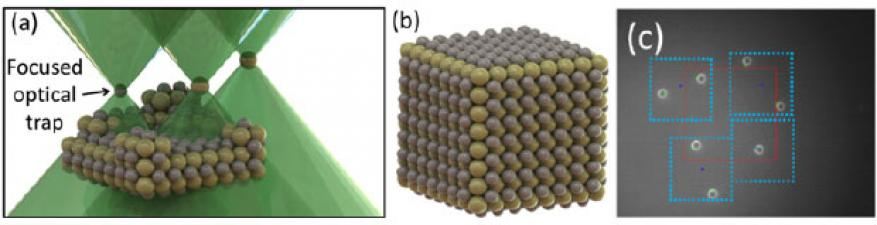Figure 4. (a) multiple optical traps construct an ordered three-dimensional micro-granular crystal made of different-material spheres. (b) the final lattice. (c) seven spheres are repositioned into a circular configuration using 13-mw traps.