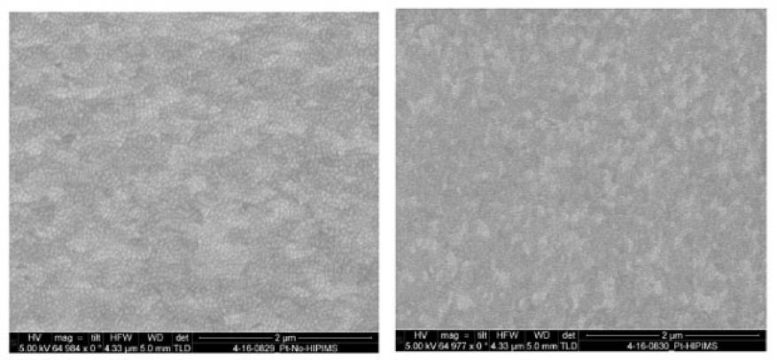 Figure 5. scanning electron microscopy image at 65,000x of platinum without high-power impulse magnetron sputtering (left), and with high-power impulse magnetron sputtering (right).