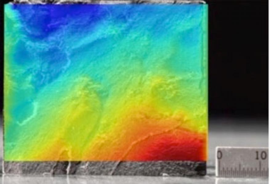 Fractured shale sample profile with overlaid surface obtained by laser surface measurements used in the study of proppant transport through fractures.