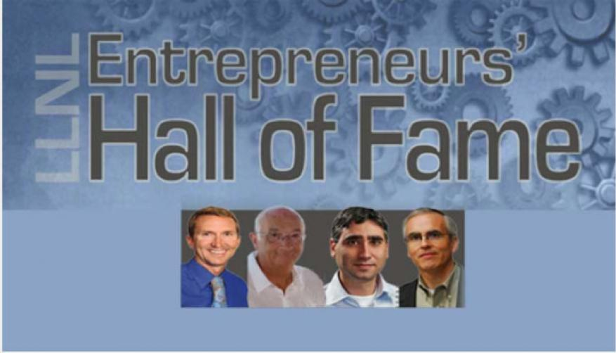 Bill colston and fred milanovich (left and second from left, respectively) were former ldrd researchers inducted into livermore's entrepreneurs' hall of fame in 2015.